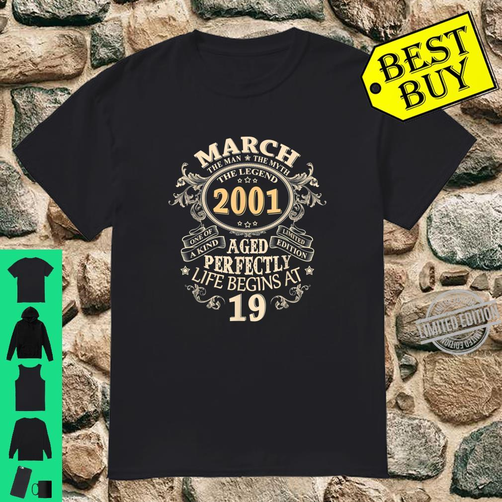 19 Years Awesome 19th Birthday Born March 2001 Best Shirt