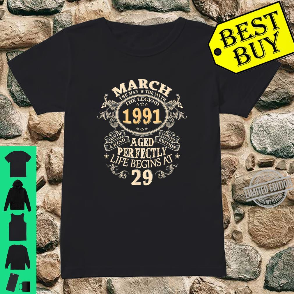 29 Years Awesome 29th Birthday Born March 1991 Best Shirt ladies tee