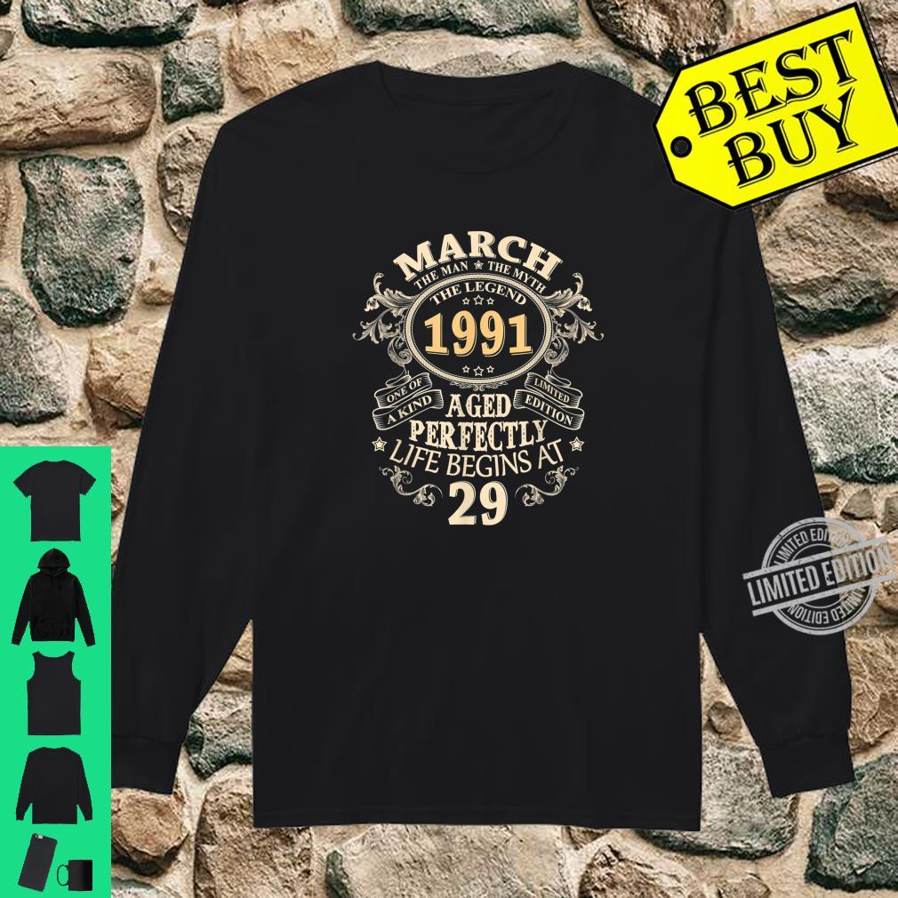 29 Years Awesome 29th Birthday Born March 1991 Best Shirt long sleeved