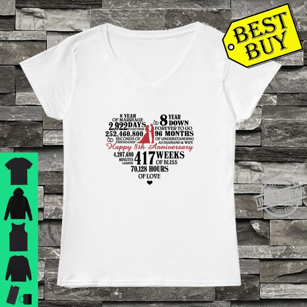8th Wedding Anniversary heart, 8 Years Down Forever To Go Shirt ladies tee