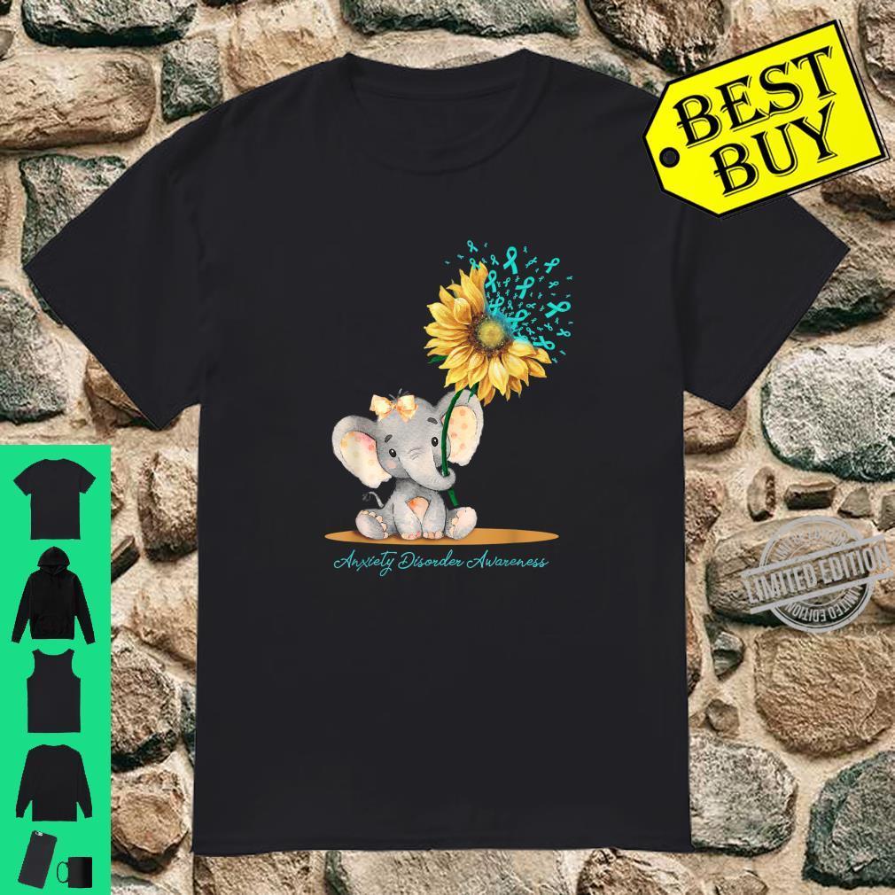 ANXIETY DISORDER AWARENESS Cute Elephant Sunflower Teal Shirt