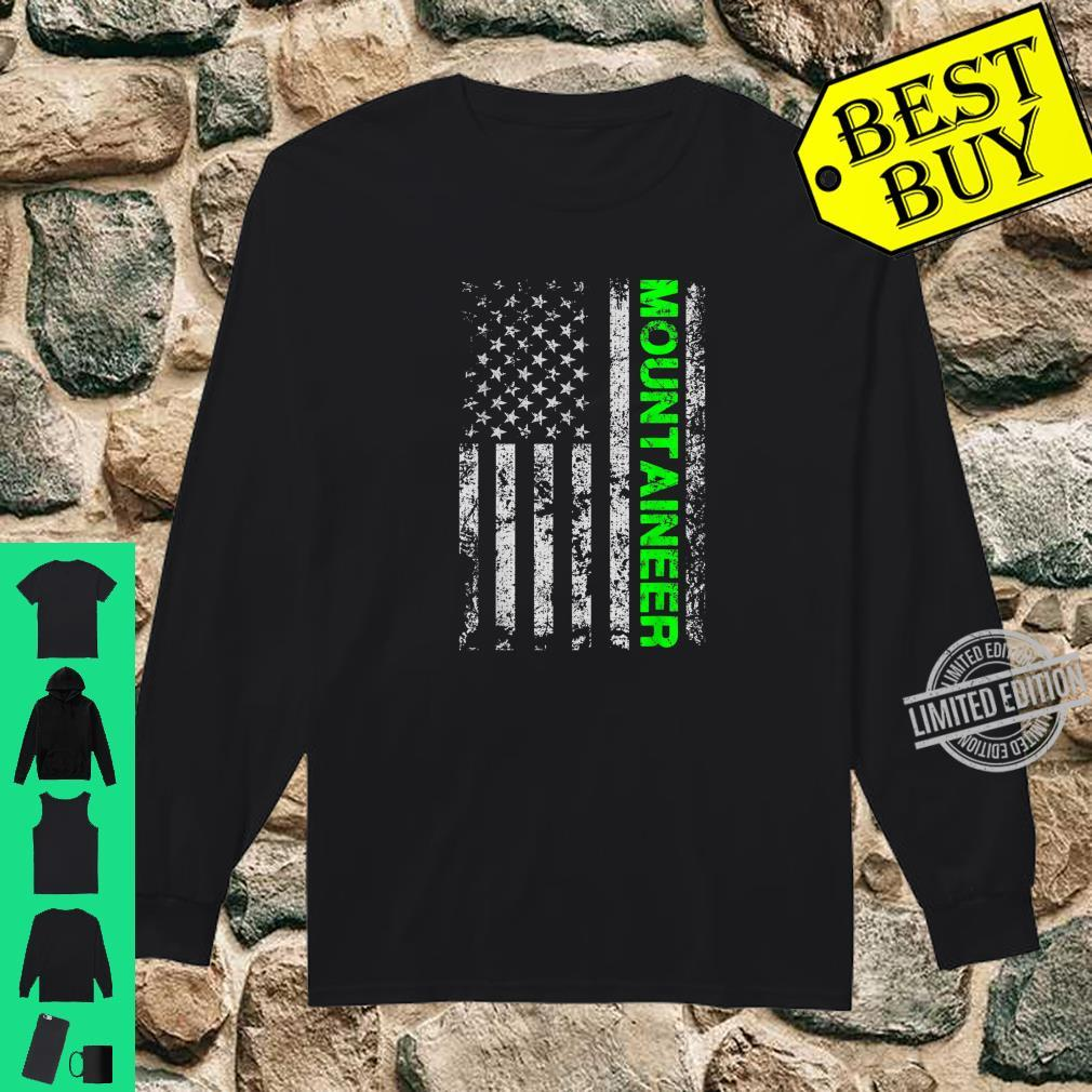 American Usa Flag Climber Mountaineer Alpinist Adventurer Shirt long sleeved