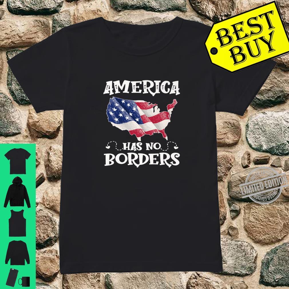 Anti Immigration Reform America Has No Border USA Flag Shirt ladies tee
