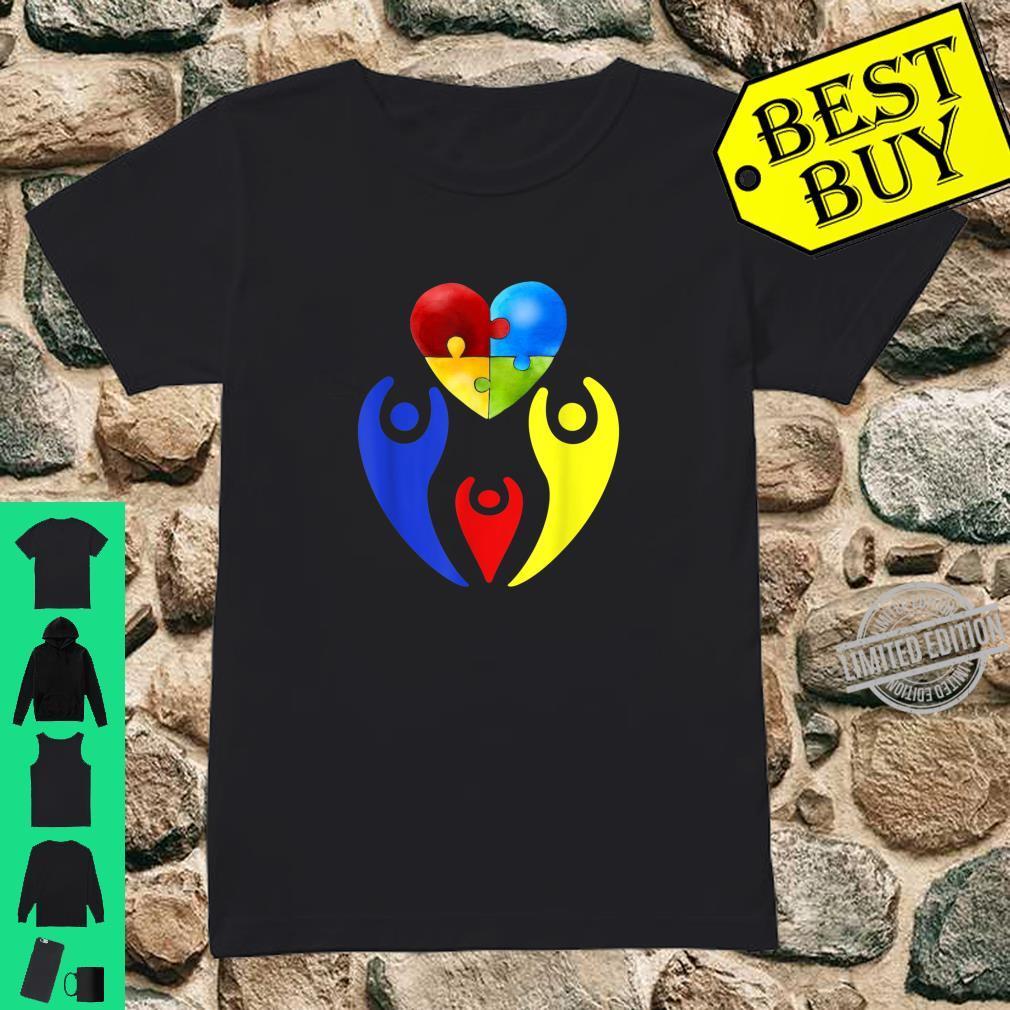 Autism Awareness Day Shirt Family Heart Puzzle Autism Shirt ladies tee
