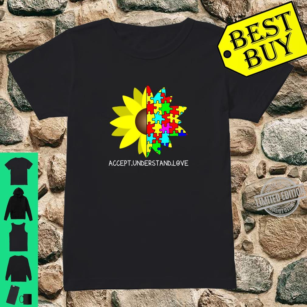 Autism Awareness Sunflower Accept Understand Love Shirt ladies tee