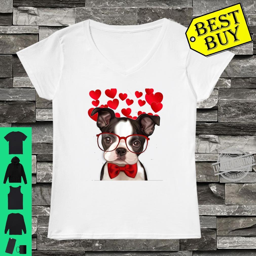 Awesome Boston Terrier Valentine Heart Cute Dog Shirt ladies tee
