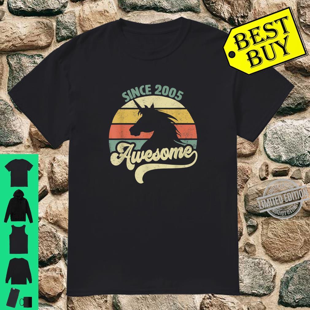 Awesome Since 2005 Retro Einhorn Geburtstagsgeschenk Vintage Shirt