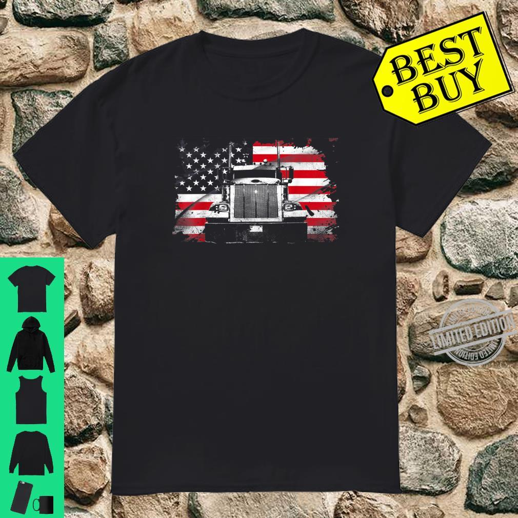 Awesome Trucking Trucker American Flag Trailer Truck Drivers Shirt