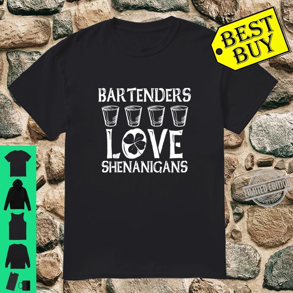 Bartenders Love Shenanigans Shamrock St Patricks Day Shirt