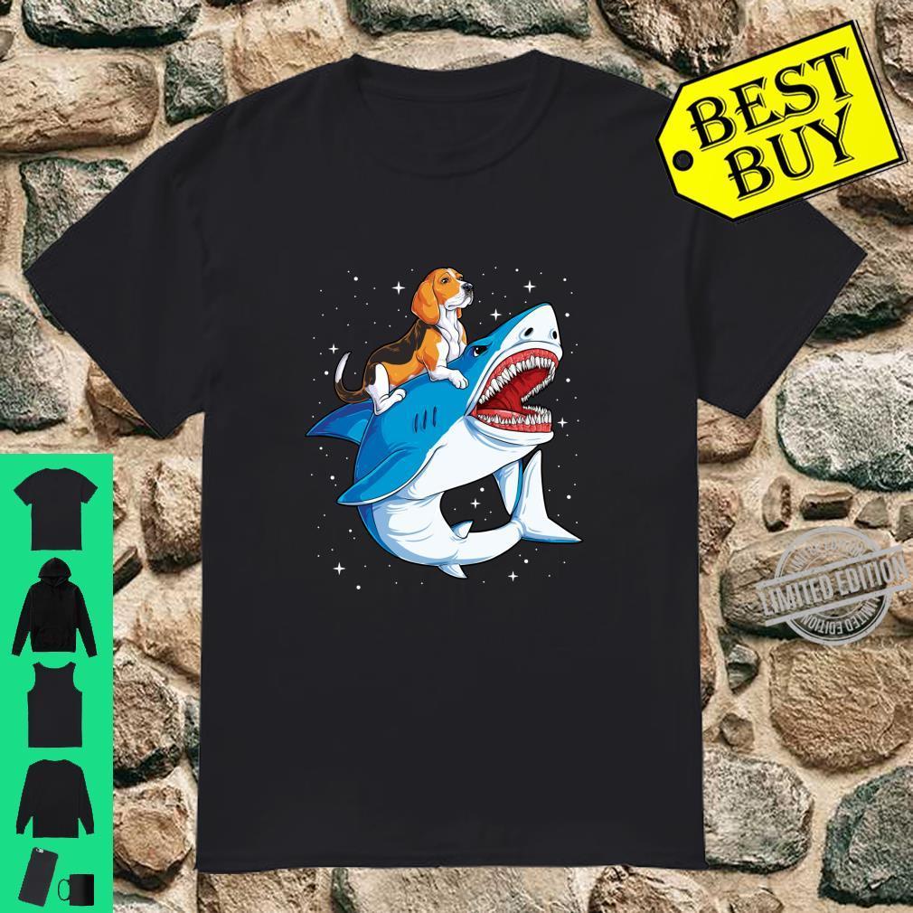 Beagle Riding Shark Jawsome Dog Space Galaxy Shirt