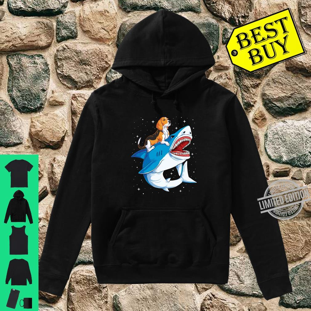 Beagle Riding Shark Jawsome Dog Space Galaxy Shirt hoodie