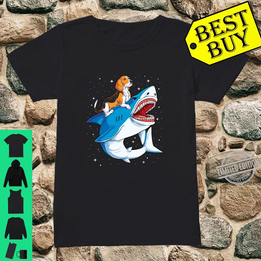 Beagle Riding Shark Jawsome Dog Space Galaxy Shirt ladies tee