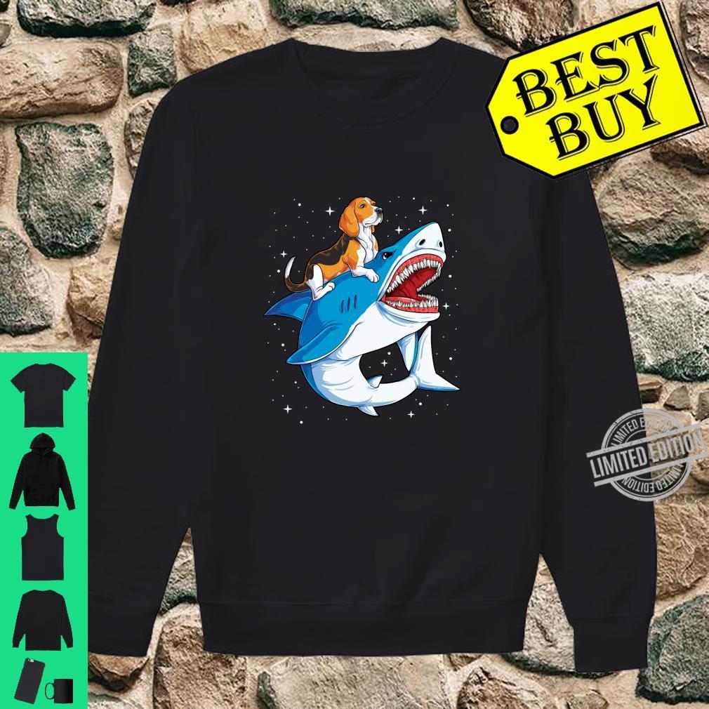 Beagle Riding Shark Jawsome Dog Space Galaxy Shirt sweater