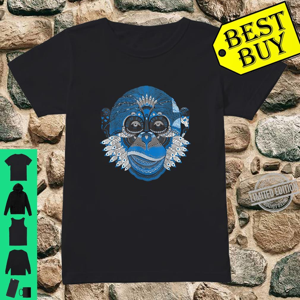 Beautiful monkey head with feathers disguised as an Indian. Shirt ladies tee