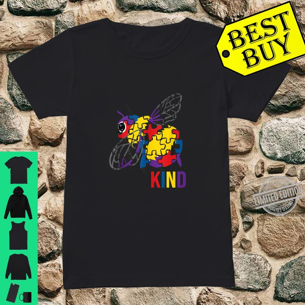 Bee Kind Puzzle Pieces Autism Be Kind Bumble Bees Shirt ladies tee