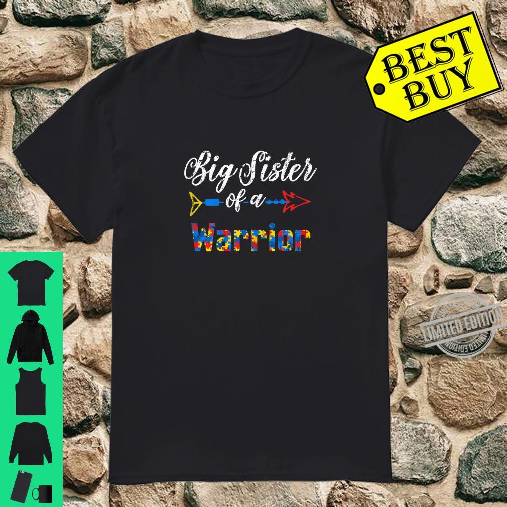 Big Sister Of A Warrior Family Autism Awareness Puzzle Shirt