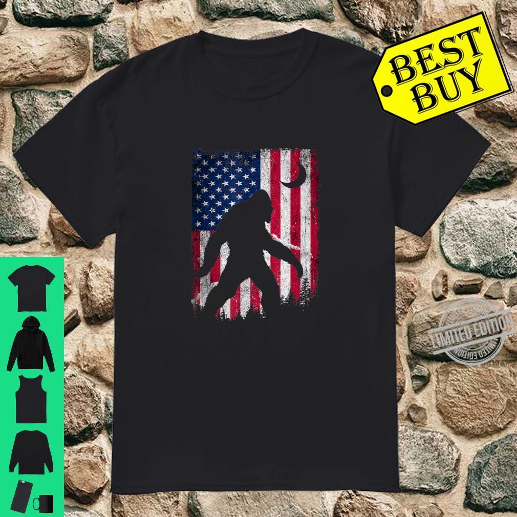 Bigfoot American Flag USA 4th of July Party Shirt