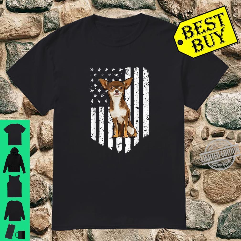 Black White American Flag Brown Chihuahua 4th Of July USA Shirt