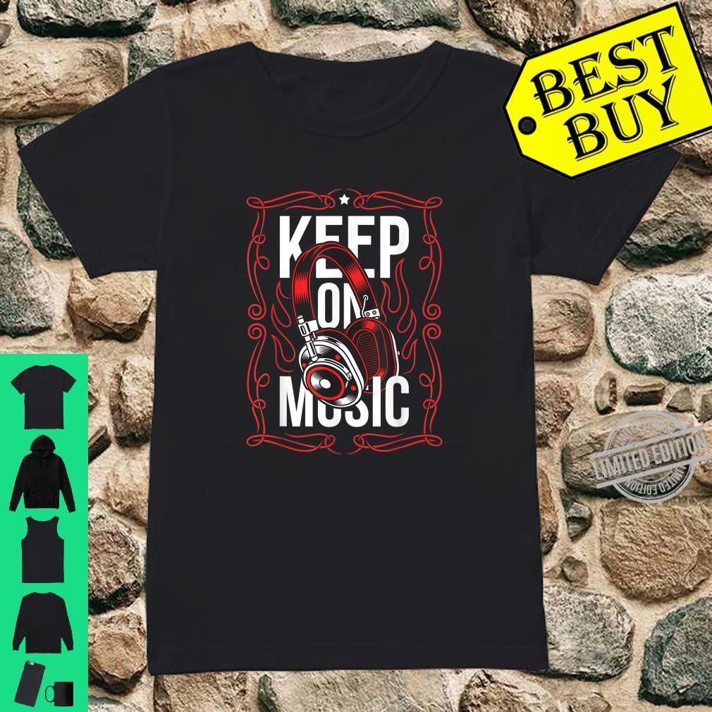 Bleiben Sie auf dem Musik Red Ornament Headset Streetwear Shirt ladies tee