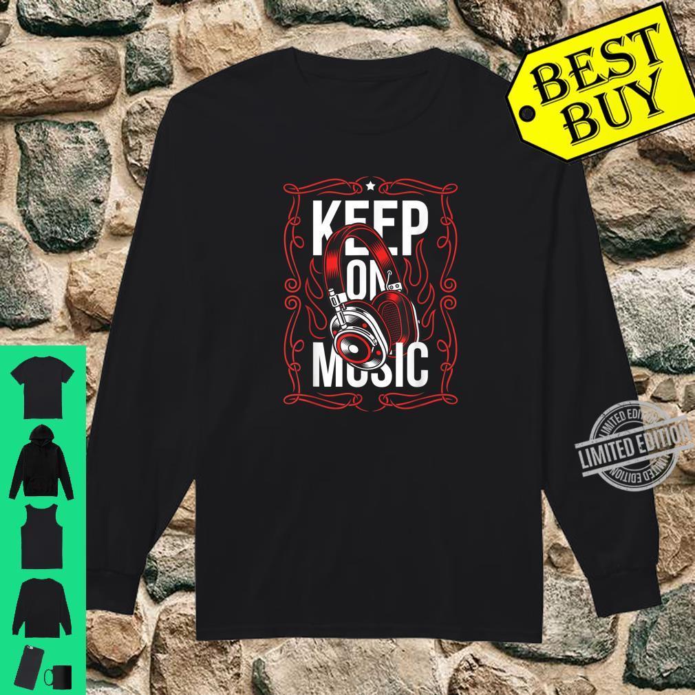 Bleiben Sie auf dem Musik Red Ornament Headset Streetwear Shirt long sleeved