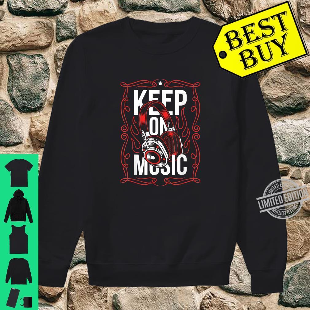 Bleiben Sie auf dem Musik Red Ornament Headset Streetwear Shirt sweater