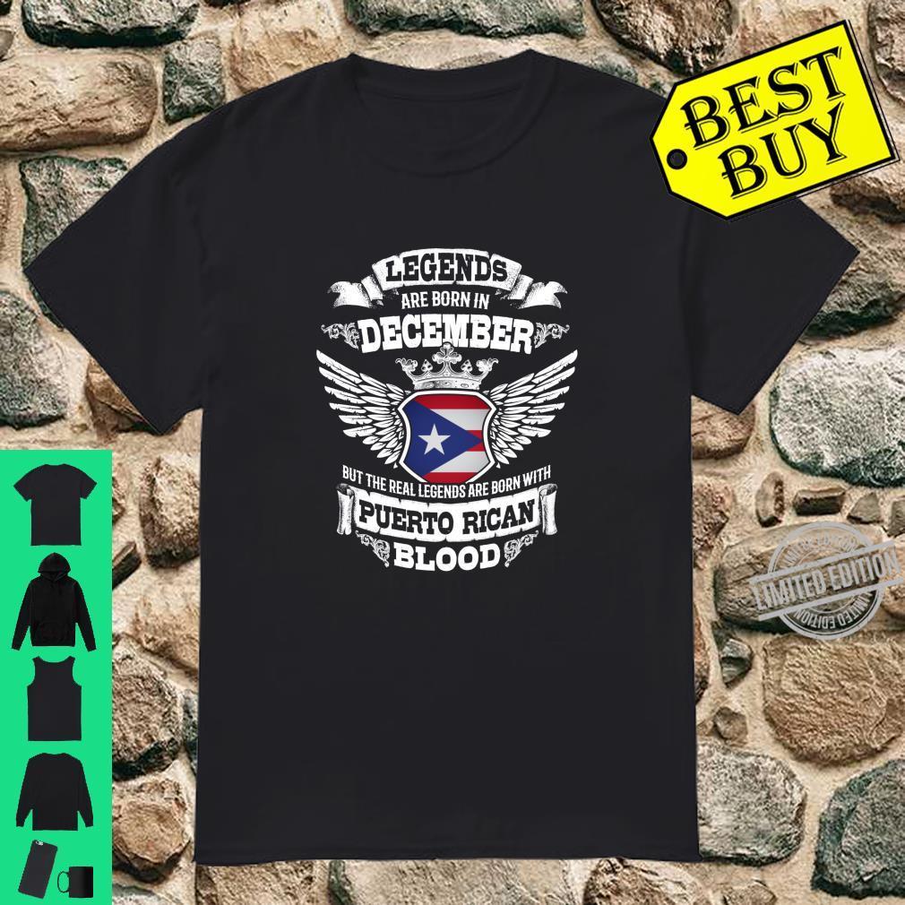 Born In December Puerto Rico Flagge Geburtstagsgeschenk Shirt