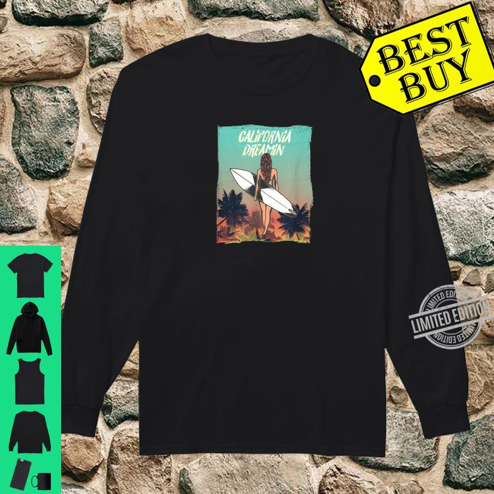 California Dreaming with surfer girl and Palm trees Shirt long sleeved