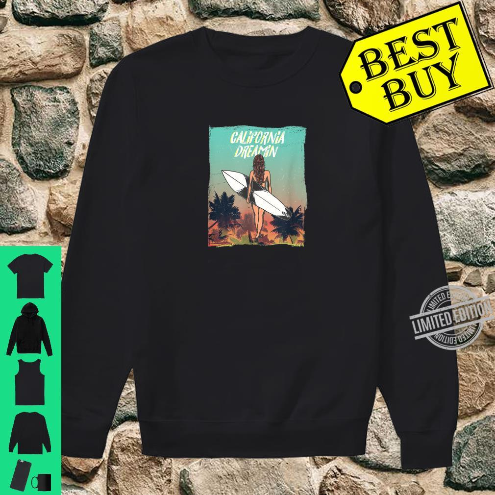 California Dreaming with surfer girl and Palm trees Shirt sweater