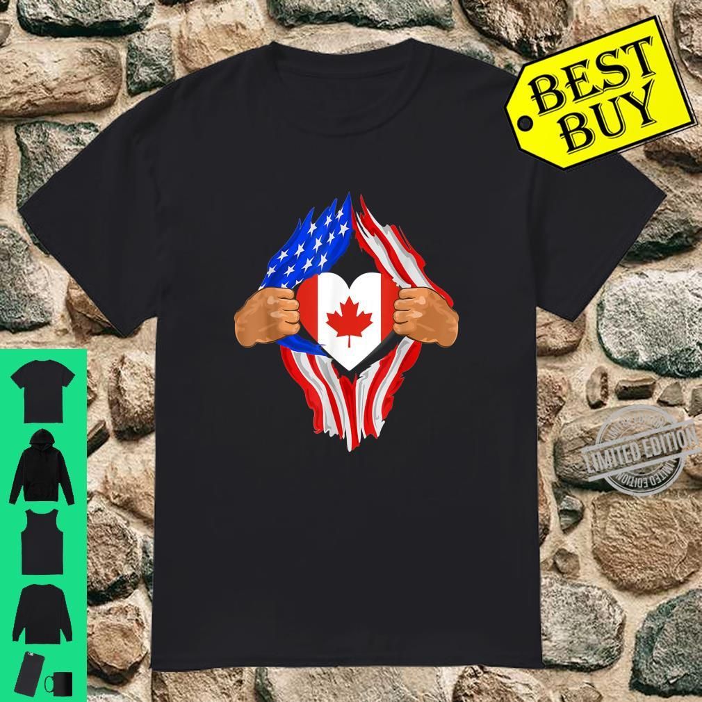 Canadian Blood Inside Me Shirt American Canadian Flag Shirt