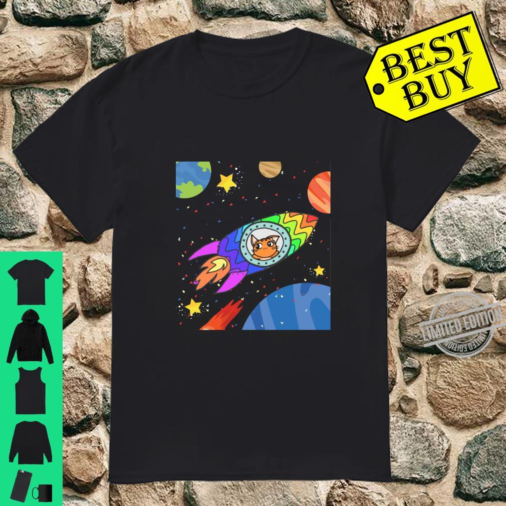 Cat in Spaceship with Planets and Stars Space Cat Shirt