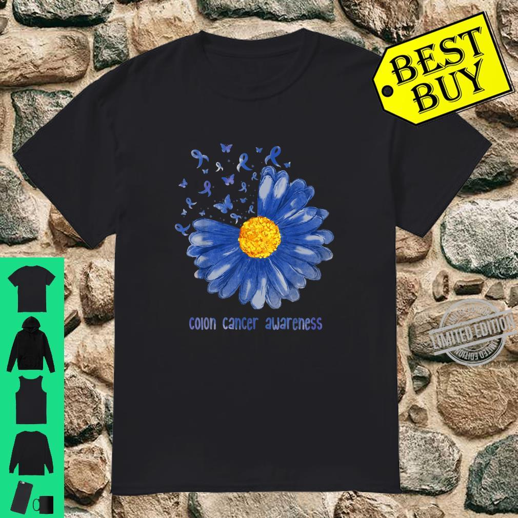 Daisy Butterfly Blue Ribbon Colon Cancer Awareness Shirt