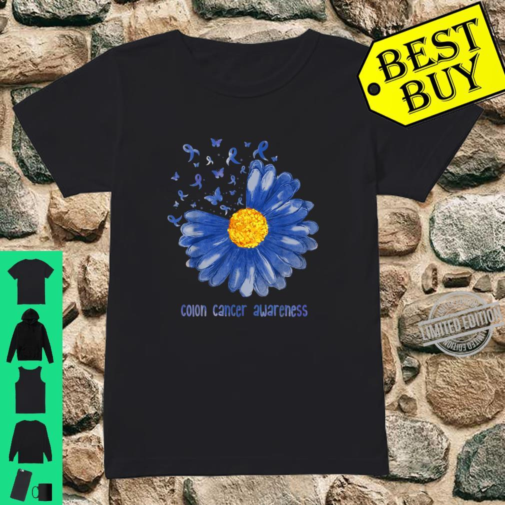 Daisy Butterfly Blue Ribbon Colon Cancer Awareness Shirt ladies tee