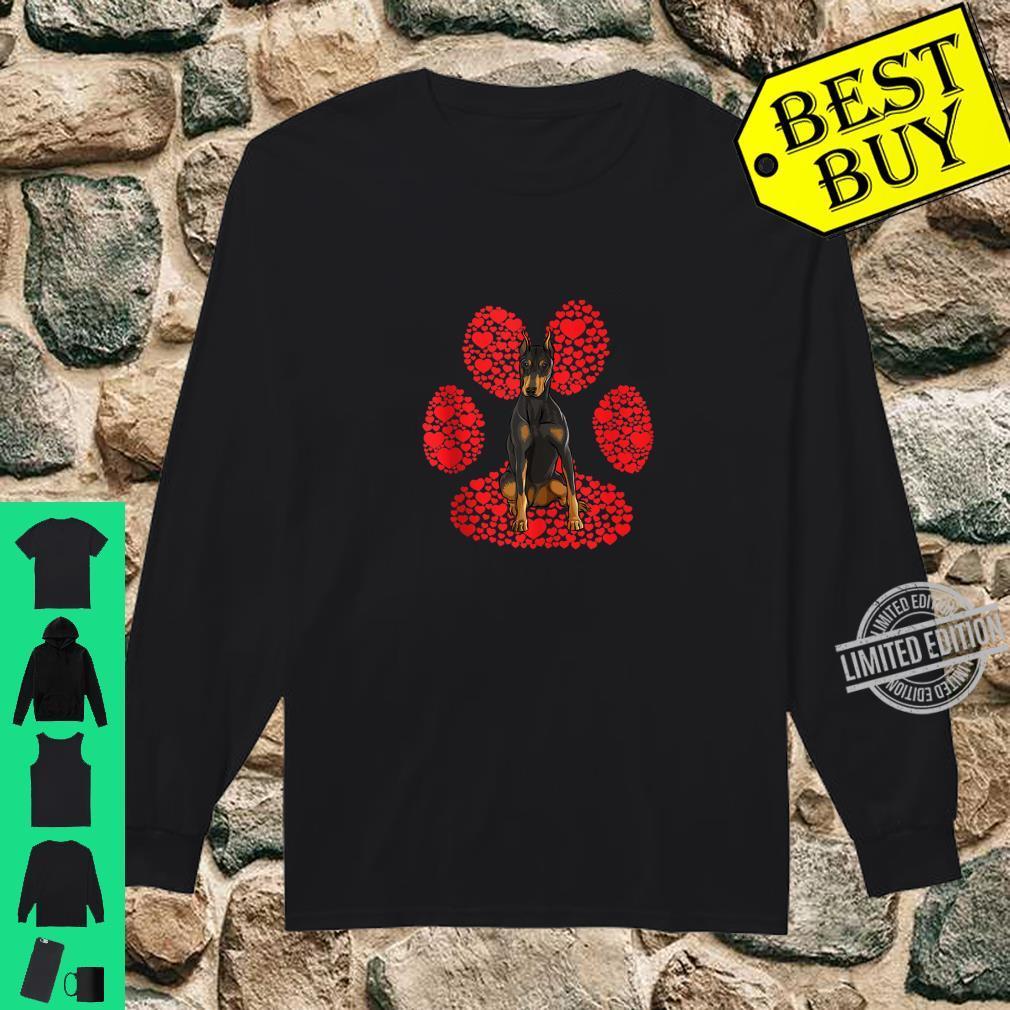 Doberman Pinscher Valentines Day Dog Love Paw Shirt long sleeved