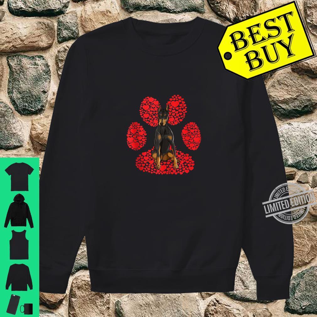 Doberman Pinscher Valentines Day Dog Love Paw Shirt sweater