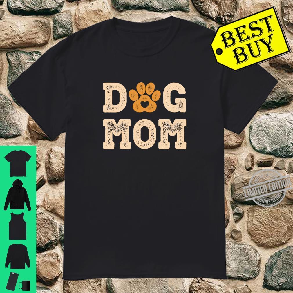Dog Mom Retro Puppy Paw Print Shirt
