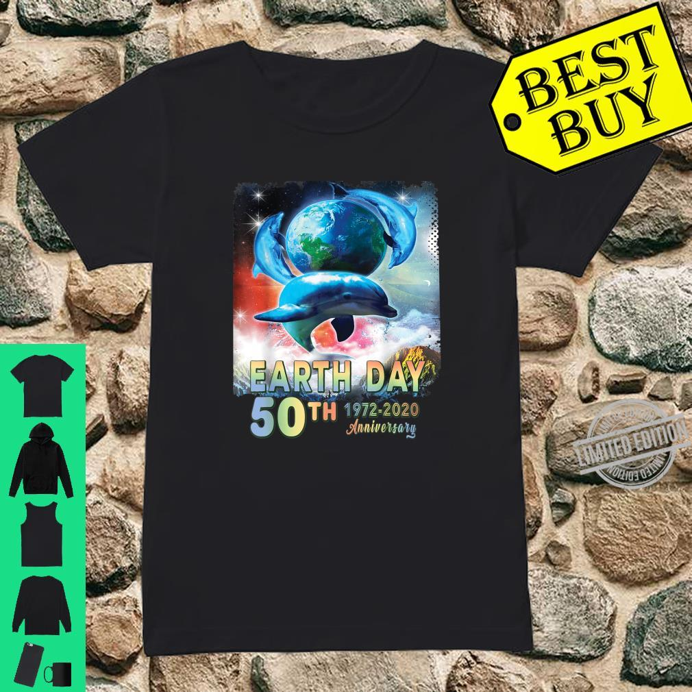 Earth Day 50th Anniversary Save The Dolphins Retro Shirt ladies tee