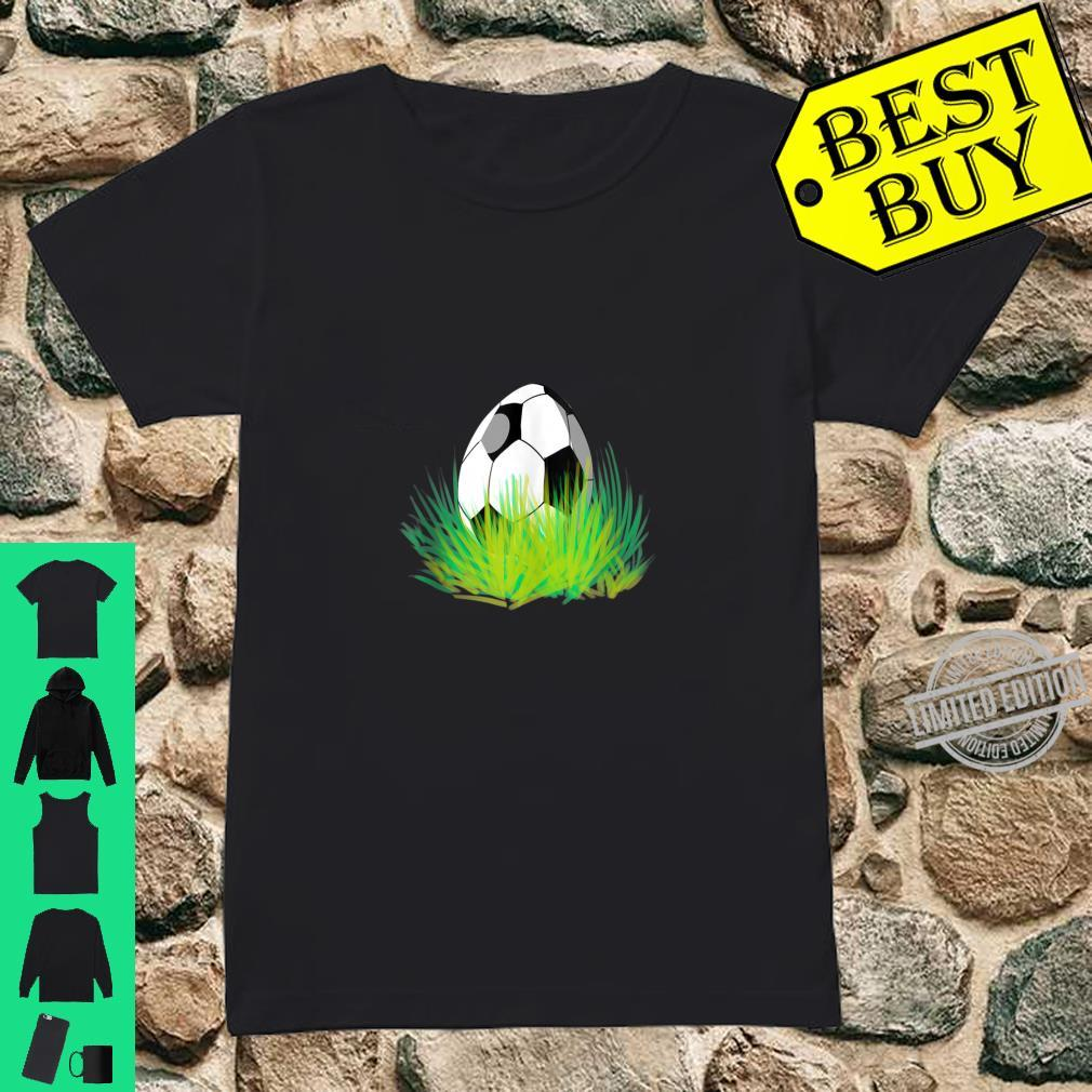 Easter Soccer Bunny Ears Egg Shirt ladies tee
