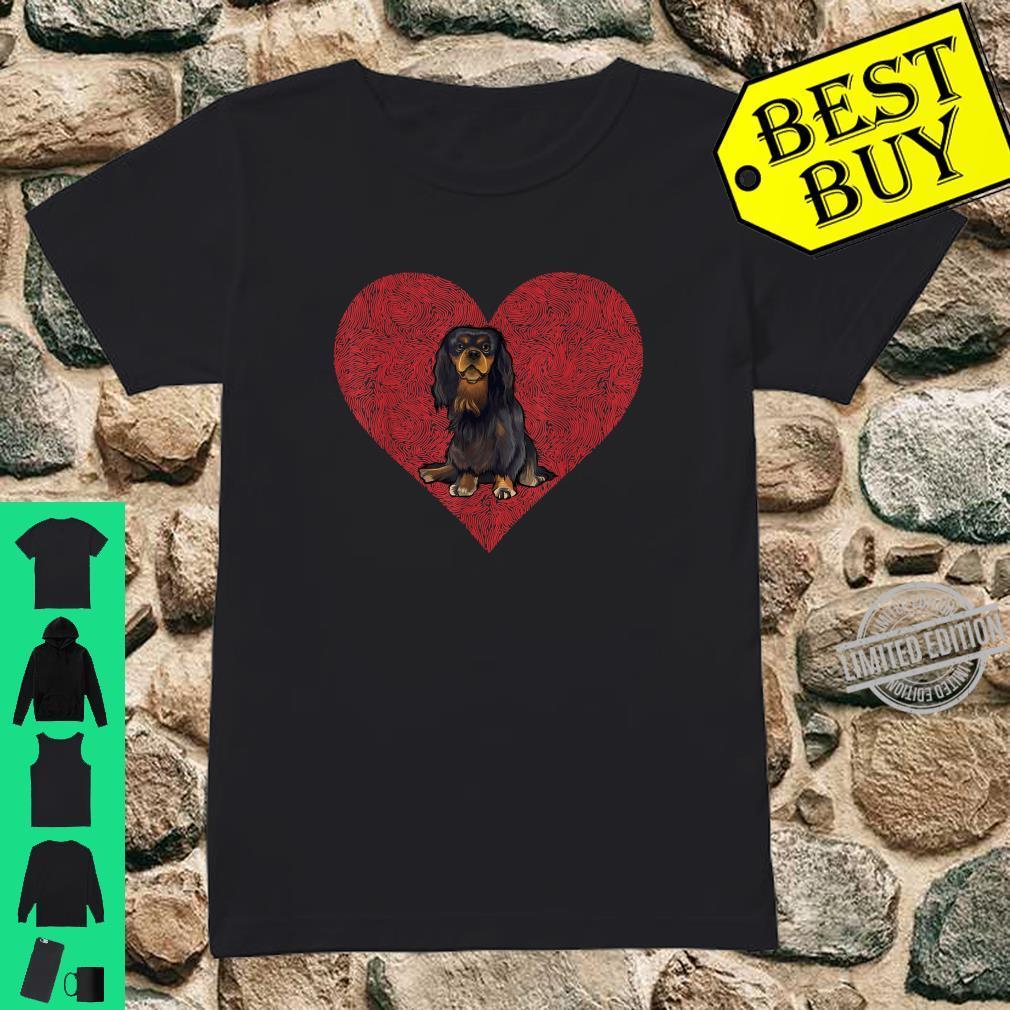 English Toy Spaniel Valentines Day Dog Love Fingerprint Shirt ladies tee