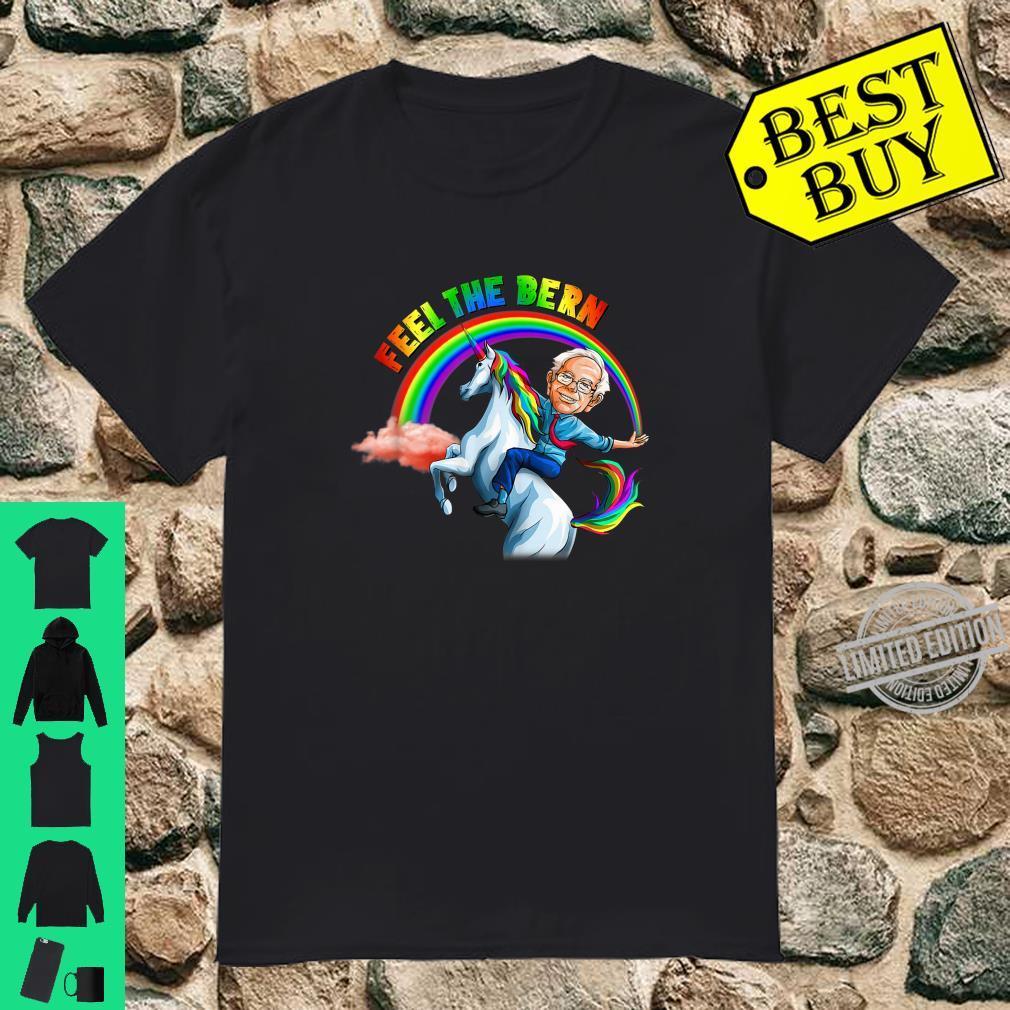 Feel the Bernie Riding Unicorn Magical Rainbow Bern Shirt