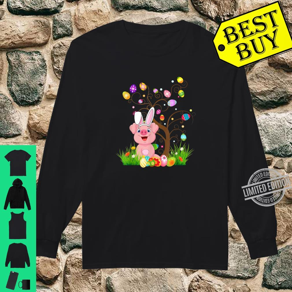 Funny Bunny Pigs Easter Egg Tree Shirt long sleeved