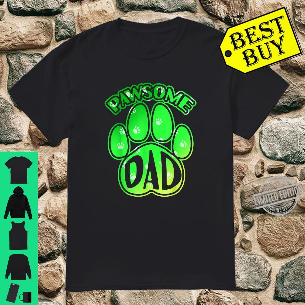 Funny Dog Puppy Dog Paw Print Dog Love Pawsome Dad Shirt