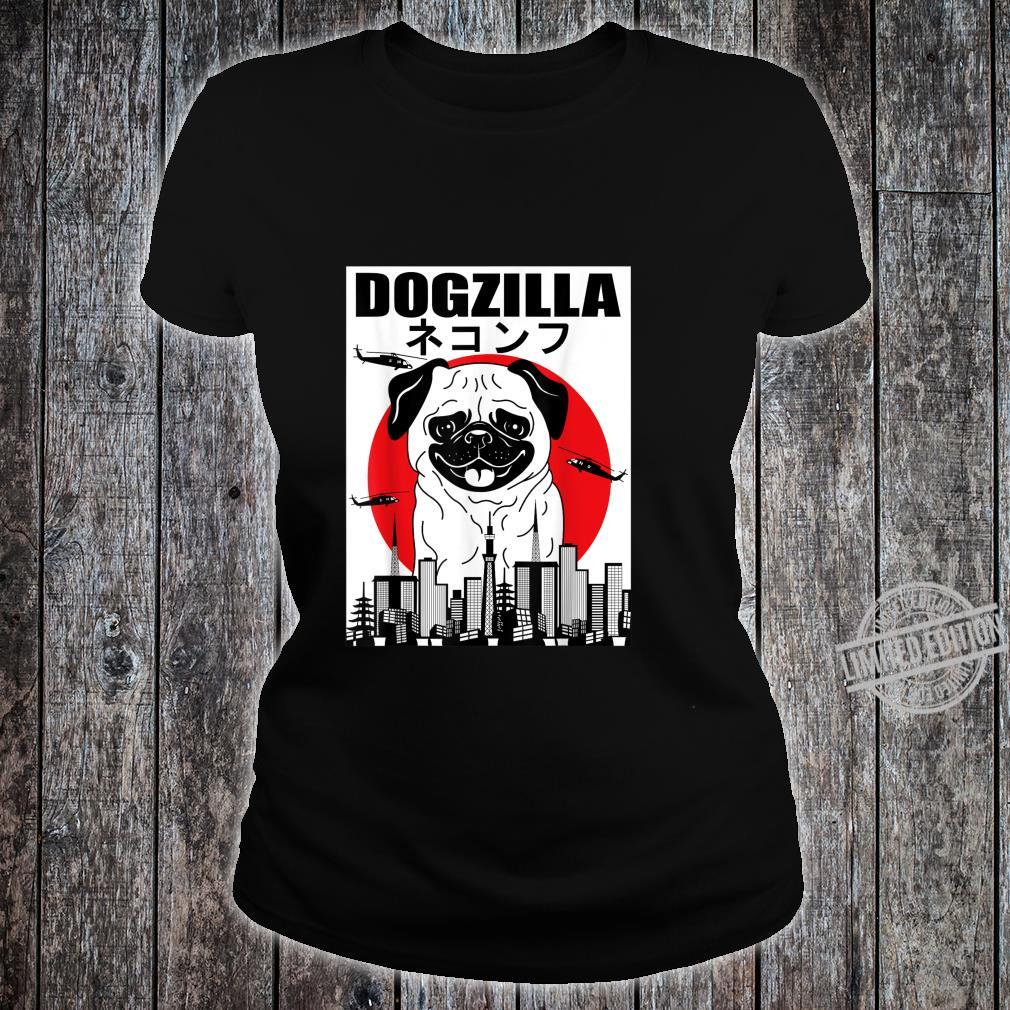 Funny Dogzilla Japanese Sunset Dog Vintage Outfit Shirt ladies tee