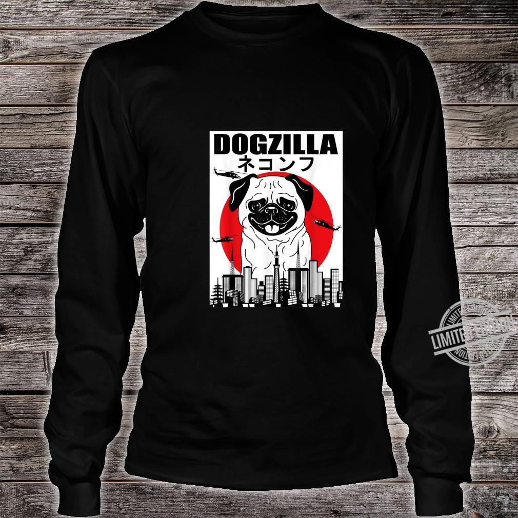 Funny Dogzilla Japanese Sunset Dog Vintage Outfit Shirt long sleeved