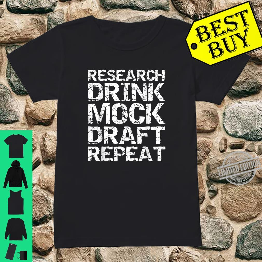 Funny Fantasy Football Research Drink Mock Draft Repeat Shirt ladies tee