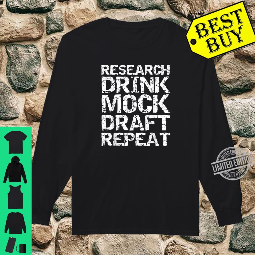 Funny Fantasy Football Research Drink Mock Draft Repeat Shirt long sleeved