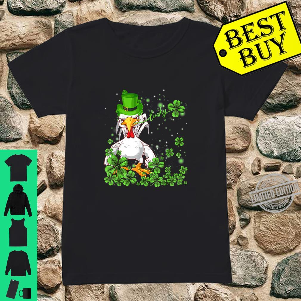 Funny Lucky Chicken Shamrock Shirt St Patrick's Day Shirt ladies tee