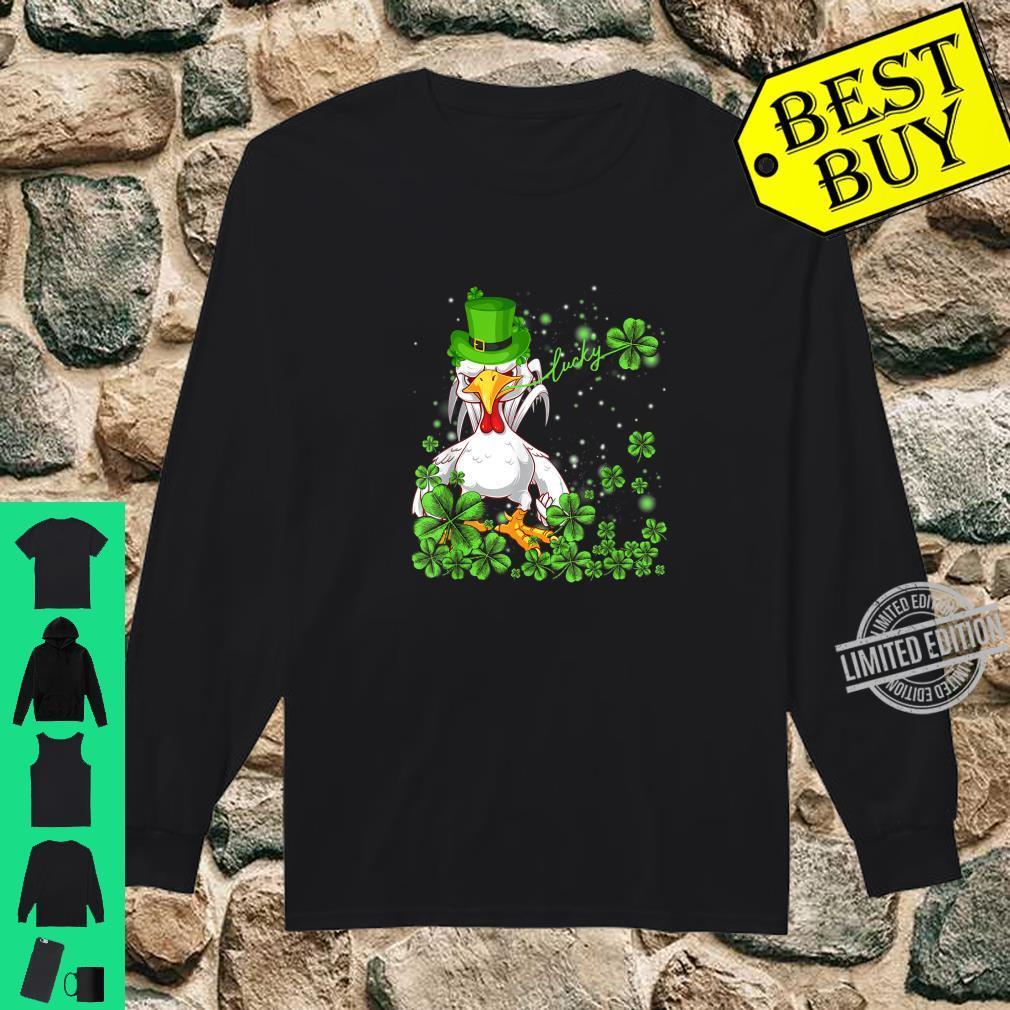 Funny Lucky Chicken Shamrock Shirt St Patrick's Day Shirt long sleeved