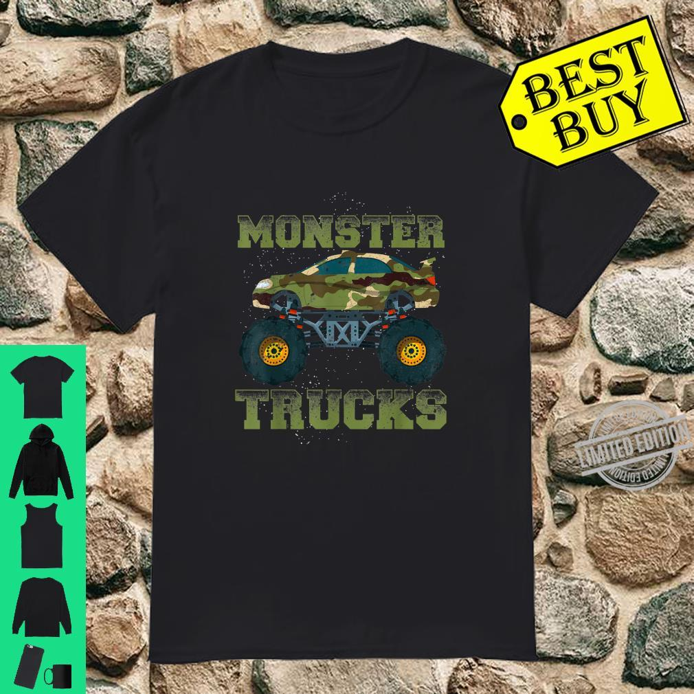 Funny Monster Trucks Camouflage Birthday Shirt