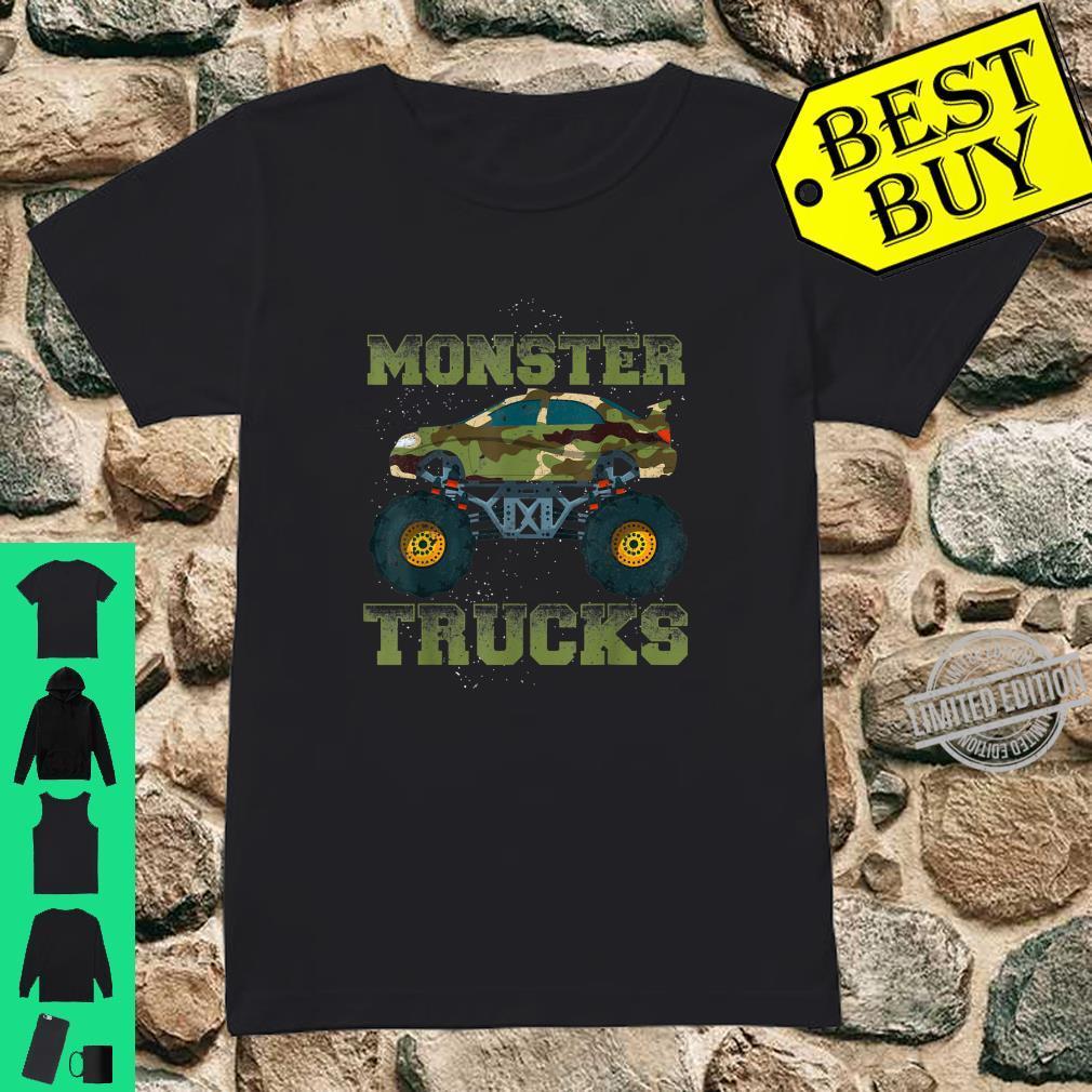Funny Monster Trucks Camouflage Birthday Shirt ladies tee