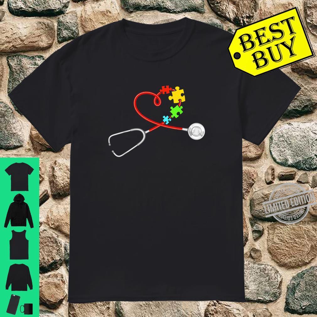 Funny Nurse Autism Puzzle Stethoscope Heart Puzzle Nursing Shirt